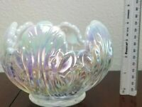 FENTON Art Glass French Opalescent Empress Lotus ROSE BOWL Candle Holder White