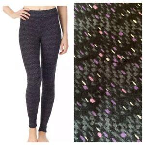 NEW Cuddl Duds Women's S Modal Thermal Warm Layer Modal Leggings Purple Printed