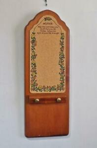 Vintage Wooden Cork Board Message Center Notepad Holder Mother's Blessing Day