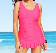 Kenneth Cole One Piece Sz 1X Pink Swimdress Ruffles Ruched Swimsuit RS5LB12W