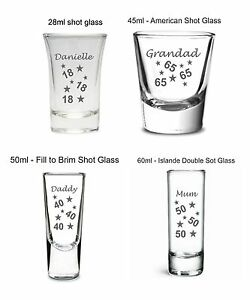 Personalised birthday gift 18th 21st 30th engraved shot glass any age or name