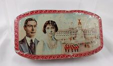VTG 1937 King George VI Walters' Palm Toffee Souvenir Tin Portrait Queen Palace