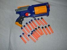 Blue Nerf N-Strike Maverick REV-6 Revolver Dart Gun With 19 Darts Working