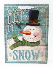 Christmas Gift Bag Large Snowman Rustic Traditional Kids Men Women Present Wrap