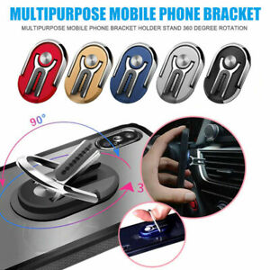 Universal Finger Ring Cell Phone Holder Stand Car Metal Plate Rotating Grip 360°