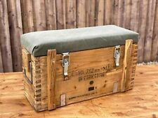 Wooden Army Ammo Box Canva Seat Chest Rustic Industrial Storage Man Cave Toolbox