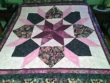 New, Handmade, Pieced Lap Quilt, 100% Cotton, Maroon, Grey, Cream Floral Star