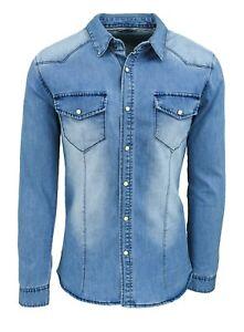 Camicia di Jeans uomo Blu denim casual Slim Fit in cotone taglia S M L XL XXL