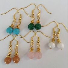 5 Pairs Natural Turquoise Quartz Stone Jade Surgical Steel hook Earrings Jewelry