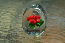"""Dynasty, Red Flower on Green in Clear Egg Paperweight, 2.6"""" x 2.0"""", D09"""