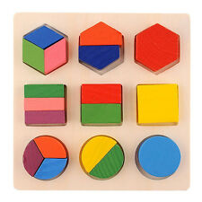 Early Education Puzzle Geometric Shape Wooden Exercise Baby Know Color Toys