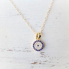 Gold Filled 14K EVIL EYE Necklace Pendant CZ Circle Necklace WOMEN