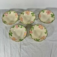 "Franciscan Desert Rose Earthenware Set of 5 Bowls 6"" Small Round USA Vintage"