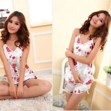 Women Rose Flower Pattern Underwear Braces Shirt Sleepwear Pajamas Robe Set