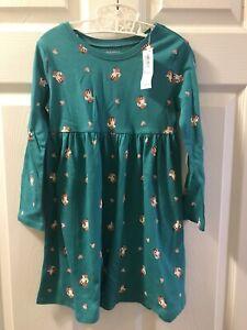 NWT Old Navy Girls Green Fox L/s Fall Dress 4T