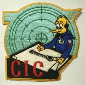 """1950s US Navy """"CIC"""" Jacket Patch - Japanese Made  - Combat Information Center"""