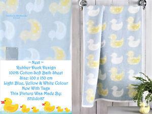 🦆 Next Rubber Duck Bird Design Shower Bath Sheet Cloth Large Towel Blue Yellow