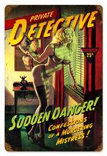 Sudden Danger Hildebrandt Vintage Metal Sign PINUP NUDE Garage Art SIGNED