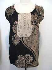 BCBG MAXAZRIA Multicolored 100% Silk Blouse With Crochet Front Size S