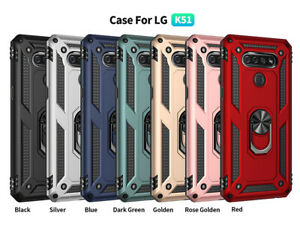 For LG K51 Phone Case,Ring Kickstand Shockproof Cover +Tempered Screen Protector