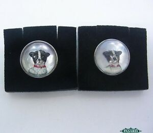 Pair Of Sterling Silver Essex Crystal Painted Intaglio Terrier Dogs Cufflinks