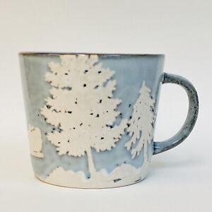 Pier 1 Blue White Santa Sleigh Reindeer Snow Winter Stoneware Large Coffee Mug