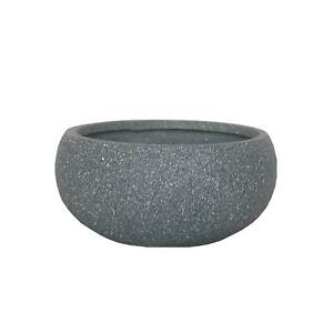IDEALIST Textured Concrete Effect Bowl Outdoor Planter with Drainage Hole