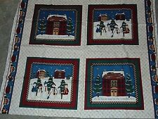 Christmas Snow Man Winter Holiday Fabric Panel Leslie Beck