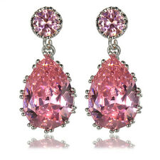 luxuriös elegant rosa Cubic Zirkonia Tropfen Queen Tropfen Ohrstecker