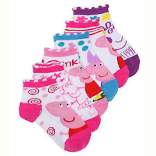 Peppa Pig Girls Kids 6-pack Socks Size 4-6 Shoes Size 7-10 BRAND NEW 6 PAIR