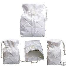 L5 White Pearls Pattern w/flower Purse Handbag for Communion Bridal Formal Dress