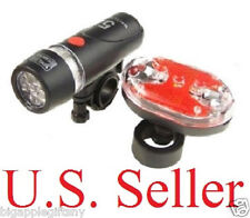 Bright Waterproof Bike Bicycle Lights 5 LED Head Light + 9 LED Rear Safety Light