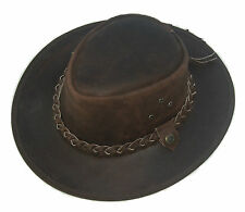 Leather Cowboy Western Aussie Style Bush Hat Brown