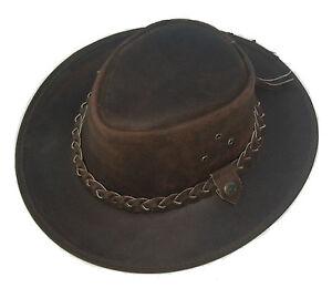 Leather Cowboy Western Aussie Style Bush Hat Brown