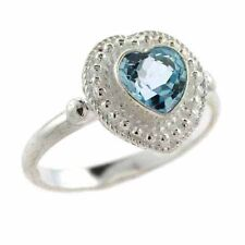 925 Silver Bali Bead Blue Topaz Heart Ring Size 7