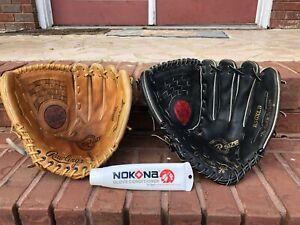"2 Rawlings RSGXL-B supersize 14"" softball baseball Glove Lot R-H LEATHER Nokona"