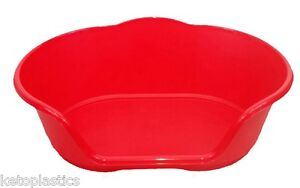 EXTRA LARGE XL PLASTIC RED DOG / CAT / PET BED, BASKET - HEAVY DUTY MADE IN UK