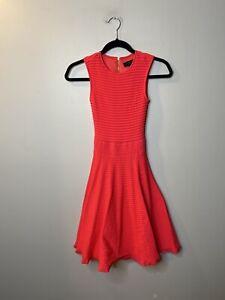 Ted Baker London Women's Size 0 Fit & Flare Dress Pink Sleeveless Ottoman Knit