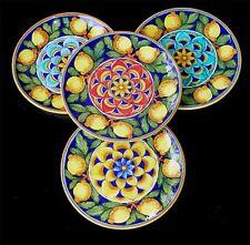 Deruta ITALIAN pottery PEACOCK LEMON SET 4 BIG PLATES