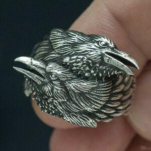 Mens Retro Alloy Rings Odin Crow Scandinavian Talisman Ring Viking Jewelry Gift