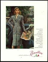 1947 ROSENBLUM Ladies Glenhill Glen Plaid Wool Suit Vintage Fashion AD Ben Stahl