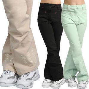 Bambina Pantaloni Svasati Sottile Fiori Ricamo Tasche Teenager Foglie Base