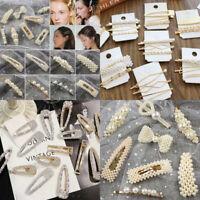 Women Pearl Acrylic Hair Clips Snap Barrette Stick Hairpin Hair Accessories