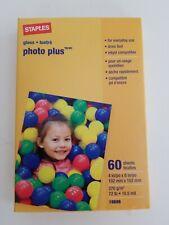 Staples Photo Plus Gloss Paper 4x6 - 60 Sheet -  NEW, UNOPENED