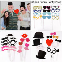 44pcs Party Props Photo Booth Instagram Selfie Fun Wedding Birthday Photography