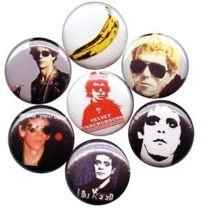 Lou Reed Set of 7 Pins-Button-Badges velvet underground Rock and Roll Animal