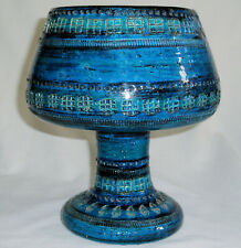 Vintage 1960s Bitossi Aldo Londi Italy Raymor Rimini Blue Ceramic Vase Compote