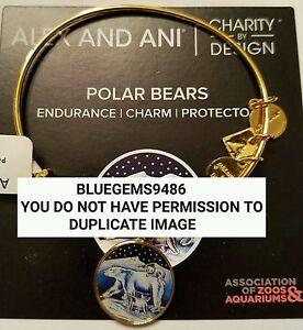 Alex and Ani Polar Bear Charm Bangle Yellow Gold - Discontinued