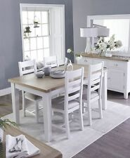 WHITE BUTTERFLY EXTENDING DINING TABLE  farmhouse style oak chunky