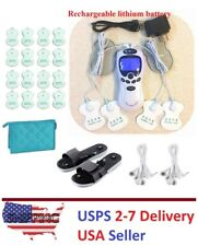 TENS Unit Rechargeable Massager Digital Therapy Acupuncture Pads TWO outputs C